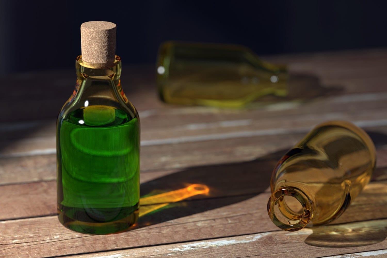 Green bottle of liquid