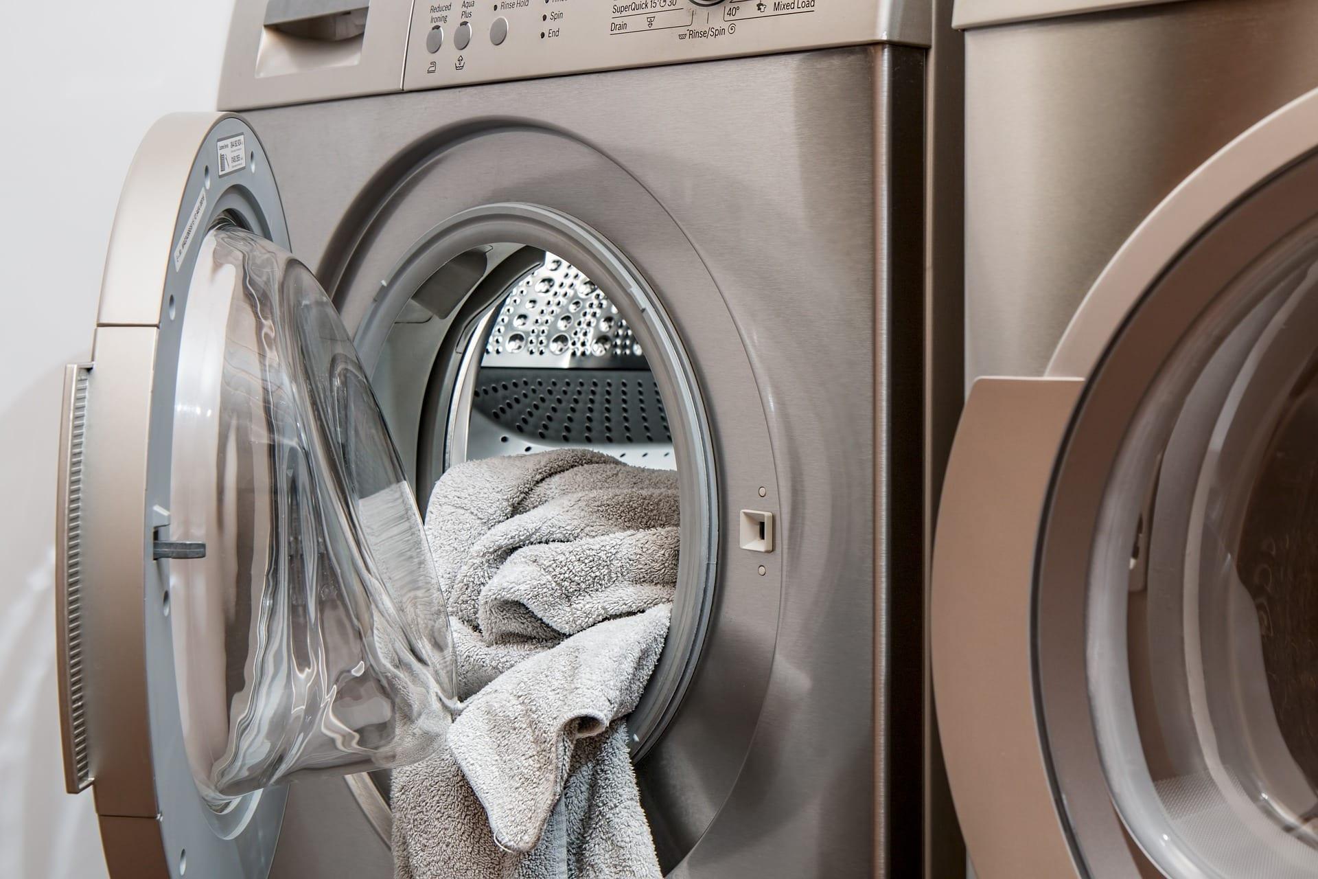 Towel inside washing machine