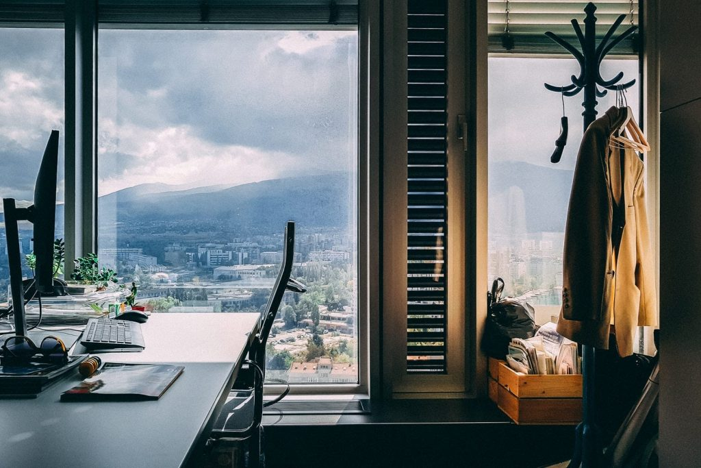 Window next to a desk