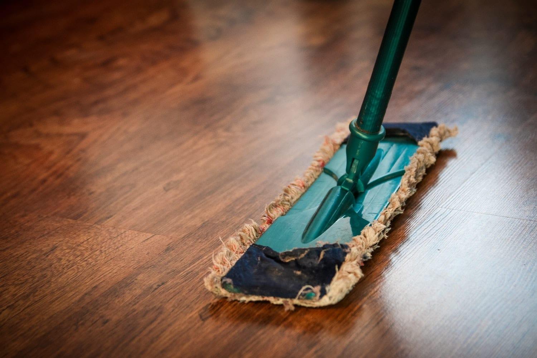 Mop on wooden floor